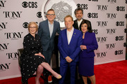 (L-R) The Broadway League Chairman Thomas Schumacher, American Theatre Wing President and CEO Heather Hitchens, Des McAnuff, American Theatre Wing Chairman David Henry Hwang, and The Broadway League President and CEO Charlotte St. Martin attend The 73rd Annual Tony Awards Meet The Nominees Press Day on May 01, 2019 in New York City.