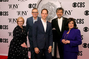 (L-R) American Theatre Wing President and CEO Heather Hitchens, The Broadway League Chairman Thomas Schumacher, David Korins, William Ivey Long, and The Broadway League President and CEO Charlotte St. Martin attend The 73rd Annual Tony Awards Meet The Nominees Press Day on May 01, 2019 in New York City.