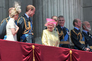 (L-R) Sophie, Countess of Wessex, Prince Edward, Count of Wessex, Prince William, The Duke of Cambridge, Queen Elizabeth II, Prince Philip, The Duke of Edinburgh and Prince Andrew, The Duke of York, Prince Edward, Duke of Kent and Prince Michael of Kent watch the fly past from the balcony of Buckingham Palace to commemorate 75th Anniversary Of The Battle Of Britain on July 10, 2015 in London, England.