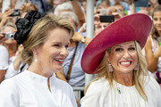 Queen Mathilde of Belgium and Queen Maxima of The Netherlands attend the 75th anniversary of the liberation of The Netherlands in Zeeland on August 31, 2019 in Terneuzen, Netherlands.