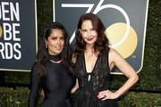 Salma Hayek and Ashley Judd attends The 75th Annual Golden Globe Awards at The Beverly Hilton Hotel on January 7, 2018 in Beverly Hills, California.