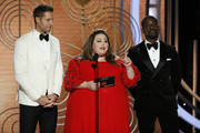 In this handout photo provided by NBCUniversal, pRESENTERS Justin Hartley, Chrissy Metz and Sterling K. Brown speak onstage during the 76th Annual Golden Globe Awards at The Beverly Hilton Hotel on January 06, 2019 in Beverly Hills, California.