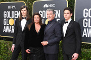 (L-R) Dylan Brosnan, Keely Shaye Smith, Pierce Brosnan and Paris Brosnan attend the 77th Annual Golden Globe Awards at The Beverly Hilton Hotel on January 05, 2020 in Beverly Hills, California.