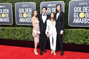Paris Brosnan (2nd L), Dylan Brosnan (R), and guests attend the 77th Annual Golden Globe Awards at The Beverly Hilton Hotel on January 05, 2020 in Beverly Hills, California.