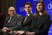 President of the Hollywood Foreign Press Association, Lorenzo Soria and 2020 Golden Globe Ambassadors Paris Brosnan and Dylan Brosnan attend the 77th Annual Golden Globe Awards Nominations Announcement at The Beverly Hilton Hotel on December 09, 2019 in Beverly Hills, California.