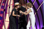 Kathie Lee Gifford (R) presents an award to Lauren Daigle for Female Artist of the Year during the 7th Annual K-LOVE Fan Awards at The Grand Ole Opry House on June 2, 2019 in Nashville, Tennessee.