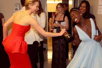 Jennifer Lawrence Totally Tried to Steal Lupita Nyong'o's Oscar