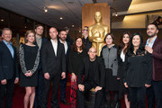 (L-R) Rob Epstein, Caitrin Rogers,  Zachary Heinzerling, Richard Rowley, Jeremy Scahill,  Morgan Neville, Lydia Dean Pilcher,  Joshua Oppenheimer, Sine Byrge Sorensen, Jehane Noujaim, Barbara Kopple and Karim Amer arrive T THE 86th Annual Academy Awards Oscar Week Celebrates Documentaries at AMPAS Samuel Goldwyn Theater on February 26, 2014 in Beverly Hills, California.