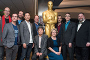 (L-R) Roy Conli, Tomm Moore, Chris Williams, Yoshiaki Nishimura, Don Hall, Isao Takahata, Bonnie Arnold, Anthony Stacchi, Greham Annable and  Dean DeBlois attend the 87th Annual Academy Awards Oscar Week Celebrates Animated Features at Samuel Goldwyn Theater on February 19, 2015 in Beverly Hills, California.