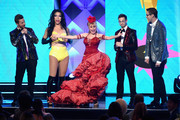 (L-R) Ned Fulmer, Eugene Lee Yang, Charo, Zach Kornfeld, and Keith Habersberger perform onstage during The 8th Annual Streamy Awards at The Beverly Hilton Hotel on October 22, 2018 in Beverly Hills, California.
