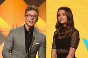 Tyler Oakley (L) and Annie LeBlanc speak onstage during The 8th Annual Streamy Awards at The Beverly Hilton Hotel on October 22, 2018 in Beverly Hills, California.
