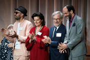 (L-R) Director JR, editor Tatiana S. Riegel, and directors Steven Spielberg and Luca Guadagnino attend the 90th Annual Academy Awards Nominee Luncheon at The Beverly Hilton Hotel on February 5, 2018 in Beverly Hills, California.