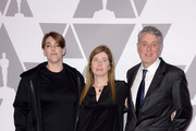 (L-R) Producers Chelsea Barnard, Megan Ellison and Daniel Lupi attend the 90th Annual Academy Awards Nominee Luncheon at The Beverly Hilton Hotel on February 5, 2018 in Beverly Hills, California.