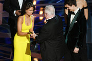 Sound designer Richard King (C) accepts Best Sound Editing for 'Dunkirk' from actors Eiza Gonzalez and Ansel Elgort onstage during the 90th Annual Academy Awards at the Dolby Theatre at Hollywood & Highland Center on March 4, 2018 in Hollywood, California.