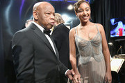 In this handout provided by A.M.P.A.S., U.S. Representative John Lewis (L) and Amandla Stenberg prepare backstage during the 91st Annual Academy Awards at the Dolby Theatre on February 24, 2019 in Hollywood, California.
