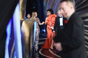 "In this handout provided by A.M.P.A.S., Presenter Jennifer Lopez walks off stage with Hannah Beachler and Jay R. Hart after winning the Best Production Design Award for ""Black Panther"" during the 91st Annual Academy Awards at the Dolby Theatre on February 24, 2019 in Hollywood, California."