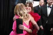 In this handout provided by A.M.P.A.S., Julia Roberts and Linda Cardellini pose backstage during the 91st Annual Academy Awards at the Dolby Theatre on February 24, 2019 in Hollywood, California.
