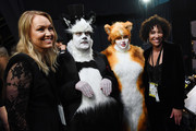 In this handout photo provided by A.M.P.A.S. James Corden and Rebel Wilson stand backstage in cat costumes during the 92nd Annual Academy Awards at the Dolby Theatre on February 09, 2020 in Hollywood, California.