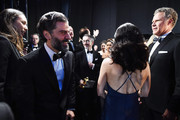 In this handout photo provided by A.M.P.A.S. Oscar Isaac, Julia Louis-Dreyfus, and Will Ferrell stand backstage during the 92nd Annual Academy Awards at the Dolby Theatre on February 09, 2020 in Hollywood, California.