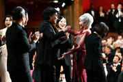 "In this handout photo provided by A.M.P.A.S. Jane Fonda presents the Best Picture award onstage to Bong Joon Ho and the ""Parasite"" team during the 92nd Annual Academy Awards at the Dolby Theatre on February 09, 2020 in Hollywood, California."
