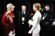 In this handout photo provided by A.M.P.A.S. Jane Fonda and Best Actress award winner Renée Zellweger speak backstage during the 92nd Annual Academy Awards at the Dolby Theatre on February 09, 2020 in Hollywood, California.