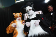 In this handout photo provided by A.M.P.A.S. Rebel Wilson and James Corden stand backstage in cat costumes during the 92nd Annual Academy Awards at the Dolby Theatre on February 09, 2020 in Hollywood, California.