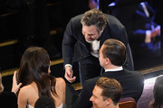 (L-R) Mark Ruffalo and  Leonardo DiCaprio attend the 92nd Annual Academy Awards at Dolby Theatre on February 09, 2020 in Hollywood, California.