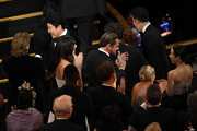 (L-R) Kang-ho Song, Camila Morrone, Leonardo DiCaprio, and Cho Yeo-jeong attend the 92nd Annual Academy Awards at Dolby Theatre on February 09, 2020 in Hollywood, California.