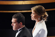 (L-R) Anotnio Banderas and Nicole Kimpel attend the 92nd Annual Academy Awards at Dolby Theatre on February 09, 2020 in Hollywood, California.