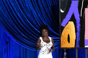 LOS ANGELES, CALIFORNIA – APRIL 25: (EDITORIAL USE ONLY) In this handout photo provided by A.M.P.A.S., Viola Davis speaks onstage during the 93rd Annual Academy Awards at Union Station on April 25, 2021 in Los Angeles, California.