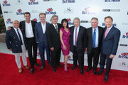 (L-R) BAFTA LA Chairman of the Board Nigel Daly, producer Francis O'Toole, designer Christopher Guy, Britweek Board of Directors' Bob Peirce and Sharon Harroun Peirce, Mike Kreisler, Paul Wright, and British Consul General in Los Angeles Chris O'Connor arrive at the 9th Annual BritWeek launch party at British Consul General's Residence on April 21, 2015 in Los Angeles, California.