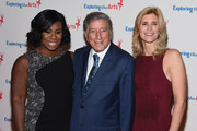 Uzo Aduba, Tony Bennett and ETA Co-Founder & Board President Susan Benedetto attend the 9th Annual Exploring The Arts Gala founded by Tony Bennett and his wife Susan Benedetto at Cipriani 42nd Street on September 28, 2015 in New York City.