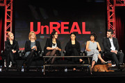 (L-R) Co-creator/executive producer Marti Noxon, executive producer Carol Barbee, co-creator/executive producer Sarah Gertrude Shapiro, actors Shiri Appleby, Constance Zimmer and Craig Bierko attend the Lifetime - UnREAL panel during A+E Networks 2016 Television Critics Association Press Tour at The Langham Huntington Hotel and Spa on January 6, 2016 in Pasadena, California.