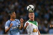 Steve Corica of Sydney FC and Ufuk Talay of the Fury compete for the ball during the round six A-League match between Sydney FC and the North Queensland Fury at the Sydney Football Stadium on September 12, 2009 in Sydney, Australia.