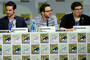 "(L-R) Actor Colin O'Donoghue, writer/producer Edward Kitsis and writer/producer Adam Horowitz attend ABC's ""Once Upon A Time"" panel during Comic-Con International 2014 at San Diego Convention Center on July 26, 2014 in San Diego, California."