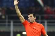Gianluigi Buffon of Juventus FC salutes the fans at the end of the Coppa Italia Semi Final match between AC Milan and Juventus at Stadio Giuseppe Meazza on February 13, 2020 in Milan, Italy.