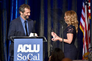 (L-R) Judd Apatow and Dr. Christine Blasey Ford speak onstage during ACLU SoCal's Annual Bill of Rights dinner at the Beverly Wilshire Four Seasons Hotel on November 17, 2019 in Beverly Hills, California.