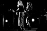 (EDITORS NOTE: Image has been shot in black and white. Color version is not available.) (L-R) Deana Carter and Carly Pearce perform onstage at ACM Lifting Lives®: Decades on April 06, 2019 in Las Vegas, Nevada.