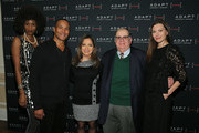 Camilla Barungi, Mike Woods, Ines Rosales, Edward R. Matthews, CEO of ADAPT Community Network and Jill Flint pose for a photo at the ADAPT Santa Project Party Casino Night at the Down Town Association on December 03, 2019 in New York City.