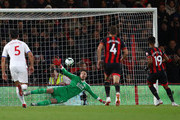 Junior Stanislas of AFC Bournemouth scores from the penalty spot after a foul by Mamadou Sakho of Crystal Palace on Jefferson Lerma of AFC Bournemouth  during the Premier League match between AFC Bournemouth and Crystal Palace at Vitality Stadium on October 1, 2018 in Bournemouth, United Kingdom.
