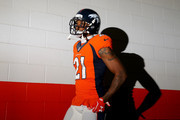 Aqib Talib #21 of the Denver Broncos walks through the tunnel before the AFC Championship game against the New England Patriots at Sports Authority Field at Mile High on January 24, 2016 in Denver, Colorado.