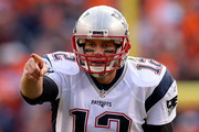 Tom Brady #12 of the New England Patriots gestures in the second quarter against the Denver Broncos in the AFC Championship game at Sports Authority Field at Mile High on January 24, 2016 in Denver, Colorado.