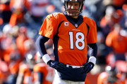 Peyton Manning #18 of the Denver Broncos warms up prior to the AFC Championship game against the New England Patriots at Sports Authority Field at Mile High on January 24, 2016 in Denver, Colorado.