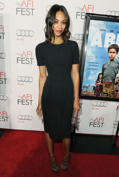 "Actress Zoe Saldana arrives at ""Abel"" screening during AFI FEST 2010 presented by Audi at Grauman's Chinese Theatre on November 7, 2010 in Hollywood, California."