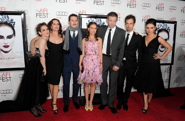 "(L-R) Actresses Winona Ryder, Barbara Hershey, Director Darren Aronofsky, actors Natalie Portman, Vincent Cassel, Benjamin Millepied and Mila Kunis arrive at the ""Black Swan"" closing night gala during AFI FEST 2010 presented by Audi held at Grauman's Chinese Theatre on November 11, 2010 in Hollywood, California."