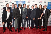 """(L-R) Peter Spears, Rodrigo Teixeira, guest, Co-President of Sony Pictures Classics Tom Bernard, Timothee Chalamet, Luca Guadagnino, Marco Morabito, Michael Stuhlbarg, Howard Rosenman, Emilie Georges and Co-President of Sony Pictures Classics Michael Barker attend the screening of """"Call Me By Your Name"""" at AFI FEST 2017 Presented By Audi at TCL Chinese Theatre on November 10, 2017 in Hollywood, California."""