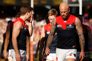 Jack Viney of the Demons (left) and Nathan Jones of the Demons looks dejected after a loss during the 2018 AFL Second Preliminary Final match between the West Coast Eagles and the Melbourne Demons at Optus Stadium on September 22, 2018 in Perth, Australia.