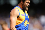 Josh Kennedy of the Eagles walks back to his mark for a shot on goal during the AFL Preliminary Final match between the West Coast Eagles and the Melbourne Demons on September 22, 2018 in Perth, Australia.