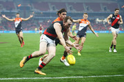 Brendon Goddard of the Bombers is challenged by Ryan Griffen of the Giants during the round 10 AFL match between the Greater Western Sydney Giants and the Essendon Bombers at Spotless Stadium on May 26, 2018 in Sydney, Australia.