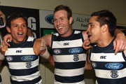 Steven Motlop, Steve Johnson and Mathew Stokes of the Cats sing the song in the rooms after winning the round 11 AFL match between the Carlton Blues and the Geelong Cats at Etihad Stadium on June 8, 2012 in Melbourne, Australia.